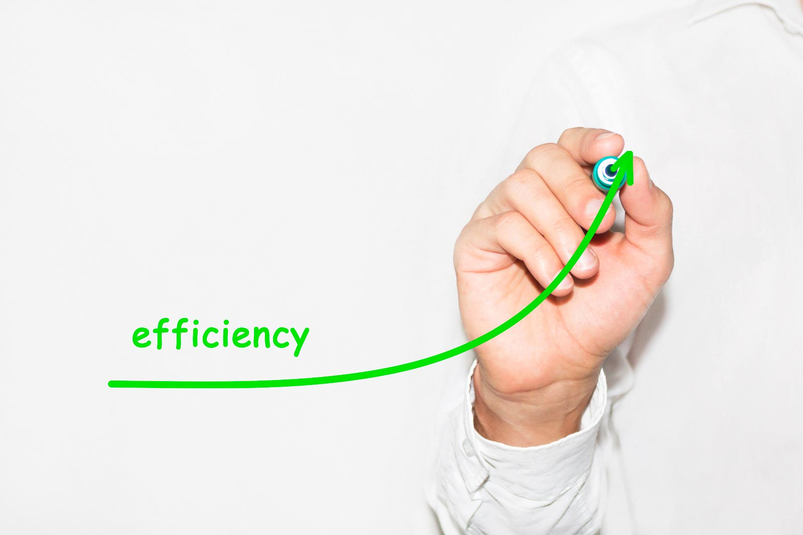 Businessman draw growing graph symbolize growing efficiency
